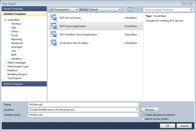 Create New WCF Service Application
