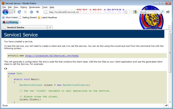 Browser Tampilan Service